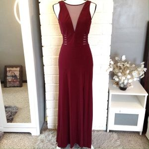 Morgan & Co. Sleeveless Illusion Side Cut Out Gown